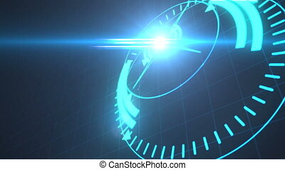 Futuristic screensaver with code hologram. HUD Heads Up...