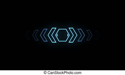 Futuristic screensaver with hex corner. HUD Heads Up Display Scanner high tech target digital read out. Abstract digital background with geometric particles