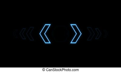 Futuristic screensaver with hex corner. HUD Heads Up Display Scanner high tech target digital read out