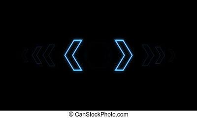 Futuristic screensaver with hex corner. HUD Heads Up Display...