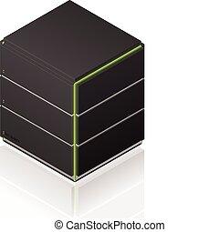 Futuristic Medium Size Single Server Rack Isometric 3D Icon (part of the Computer Hardware Icons Set)