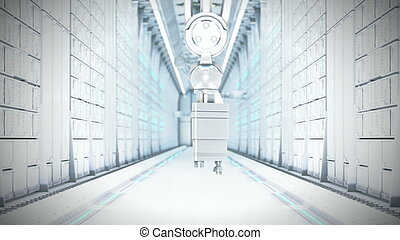 Futuristic Server Room 3d illustration