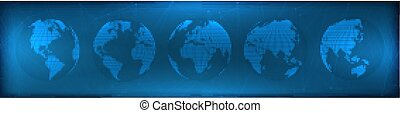 Futuristic set of transparent globes of Earth