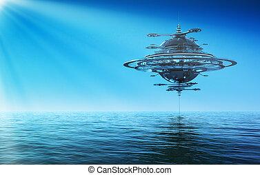 Futuristic Sky Station In Rays Of the Sun. 3D Scene.