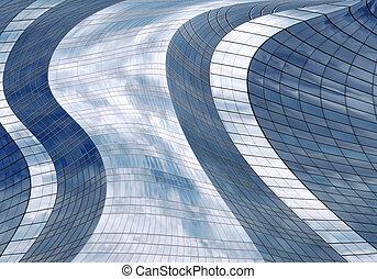 Futuristic skyscraper - Reflection of a cloudy sky in glass...