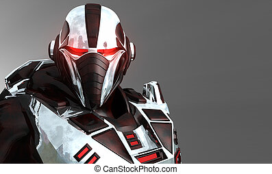 Futuristic soldier - 3d render of advanced cyborg soldier
