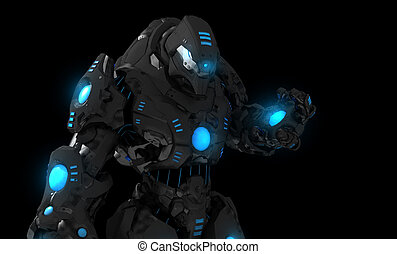 Futuristic soldier - 3d illustration of futuristic soldier