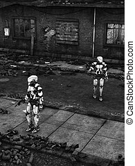 Futuristic soldier robots in ruined city. - Black and white...