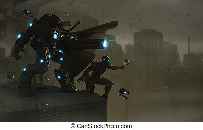 Futuristic soldiers - 3d illustration of futuristic soldier