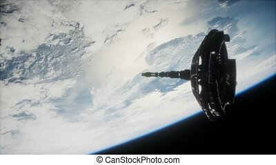 futuristic Space satellite orbiting the earth. Elements of this image furnished by NASA