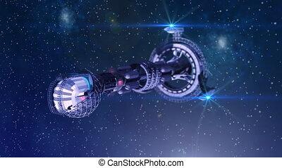 3D model of futuristic space ship in interstellar deep space travel