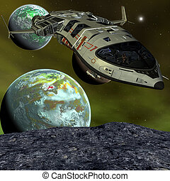 Futuristic Spaceship - 3D rendering of a futuristic...