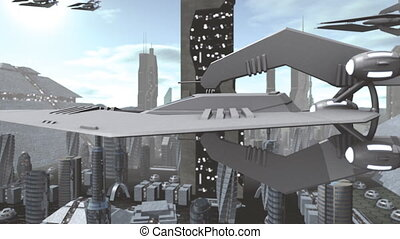 Futuristic spaceship flying above city