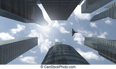Futuristic spaceship flying above modern skyscrapers - An...