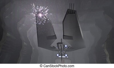 Futuristic spaceship in a 3D corridor