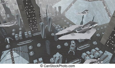 Futuristic spaceships flying above city