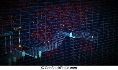 Futuristic stock candlestick chart. Bright positive trend...