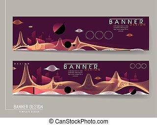 futuristic style banners set design
