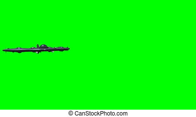 Futuristic submarine before green screen - Animation of a...