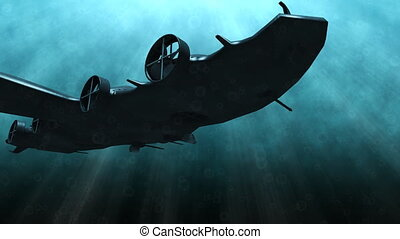 Futuristic submarine underwater scene - Animation of a...
