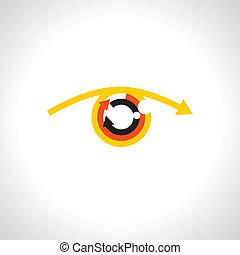 futuristic, színes, elvont, emberi, -, nyílvesszö, vector., szem, fogalom