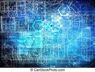 futuristic, technológia, háttér