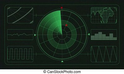 Futuristic technological interface. Green background GUI - ...