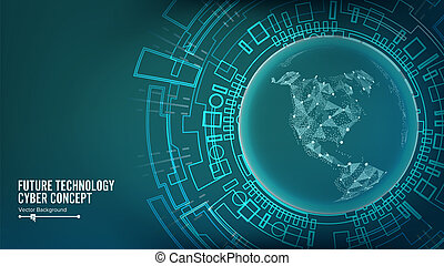 Futuristic Technology Connection Structure. Abstract Cyberspace Background. Future Cyber Concept.