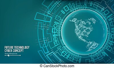 Futuristic Technology Connection Structure. Vector Abstract Cyberspace Background. Future Cyber Concept.