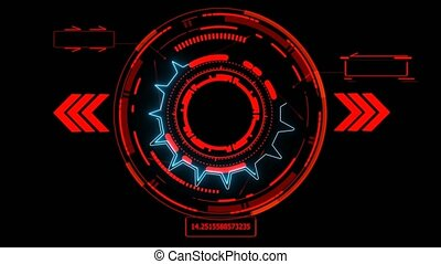 futuristic technology digital holographic element laser glow effect arrow blue laser and callout border with numeric red tone