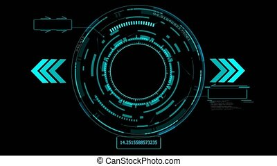 futuristic technology digital holographic element laser glow effect arrow blue laser and two callout border with numeric blue tone