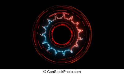 futuristic technology digital holographic element red and blue laser glow effect and red tone