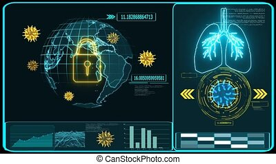 Futuristic technology digital world was lock down by crisis of COVID 19 virus come back and mutation in many country