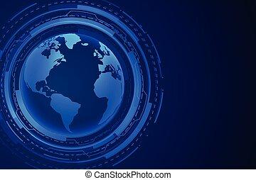 futuristic technology earth blue digital background design
