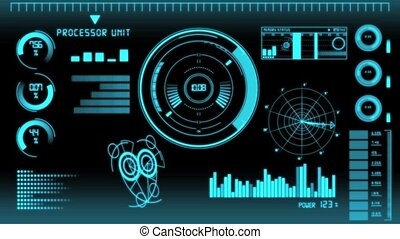 Futuristic technology interface computer data screen with
