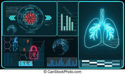 Futuristic technology  research and digital CCTV processing data information with graph for analysis vaccine of COVID 19 virus come back and mutation