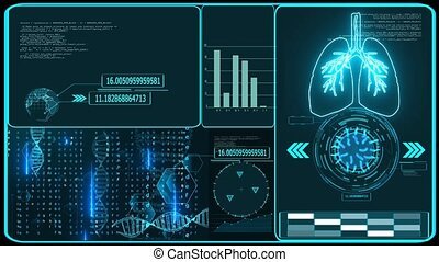Futuristic technology  research and digital processing data information with graph for analasis vaccine of COVID 19 virus come back and mutation