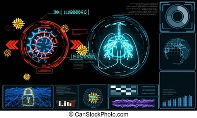 Futuristic technology research and digital processing data information with graph of COVID 19 virus come back and mutation many country was lock down