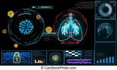 Futuristic technology  research and digital processing data information with graph of COVID 19 virus come back and evolution mutation many country was lock down