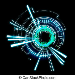 Futuristic technology wheel on a black background