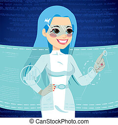 Futuristic Technology Woman - Young woman using futuristic...
