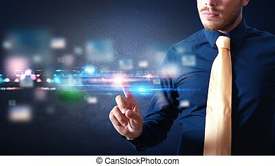 Futuristic touch screen interface - Businessman working with...