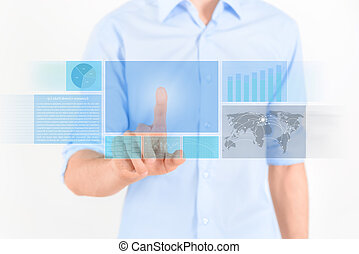 Futuristic Touchscreen Interface - Man touching futuristic...