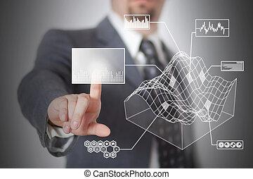 Futuristic touchscreen - Man pressing digital button in a...