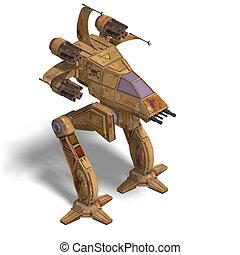 futuristic transforming scifi robot and spaceship