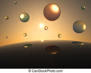 Futuristic transparent Spheres in Front of the Sun