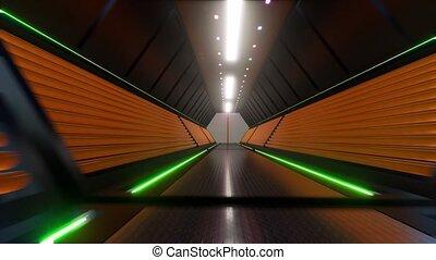 Futuristic tunnel Digital technology Led light 4k