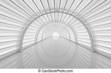 Futuristic tunnel, interior design. Future background, business, sci-fi or science concept. 3d render illustration