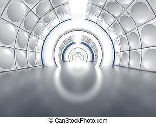 Futuristic tunnel like spaceship corridor with glowing lights