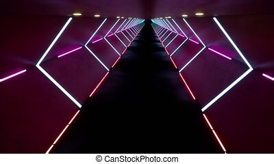 Futuristic tunnel with bright neon lights 3d seamless footage